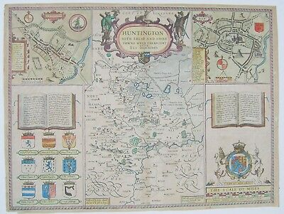 Huntingdonshire: antique map by John Speed, 1611 (1627 edition)