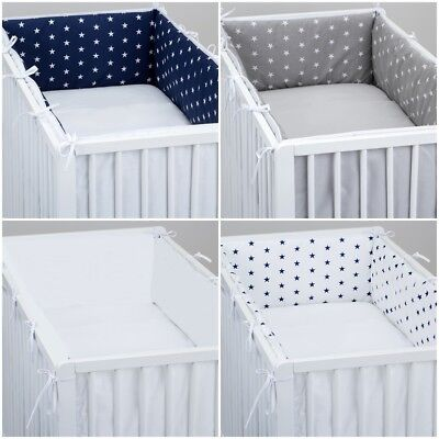 ALL ROUND BUMPER padded filled straight for cot / cot bed GREY STARS CHEVRON