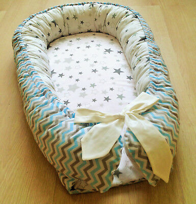 SALE Baby Nest Blue White Baby Bed Crib Cot Nursery Bedding Baby Shower Gift