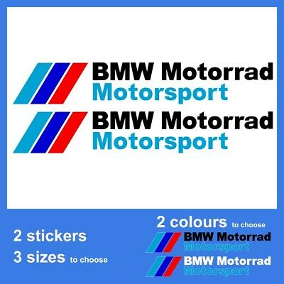 2x BMW Motorrad Motorsport Vinyl Decal Sticker. 3 sizes and 2 colours to choose