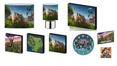 FORTNITE BEDROOM BUNDLE - LAMPSHADE, LAMP, CANVAS, CLOCK + 2 free gifts