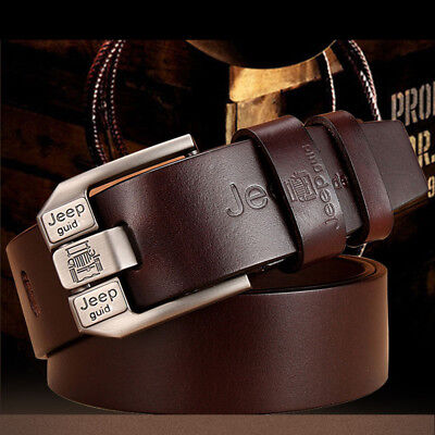 Genuine Real Leather Mens Belt Smooth Pin Buckle Waistband Waist Band Strap Gift