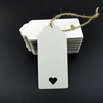 100pcs White Kraft Paper Tag Blank Tags for multiple ocassions (100) with heart