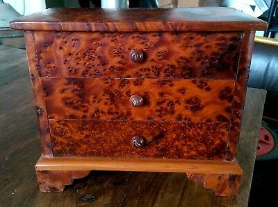 Vintage hand made birds eye maple miniature chest of drawers/jewellery box