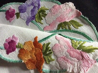 Beautiful Vintage Hand Embroidered Table Mat ~ Anemones