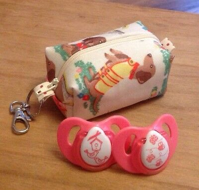 Dummy/Pacifier/Soother Storage Pouch/Case in Cath Kidston 'Sausage Dog' Oilcloth