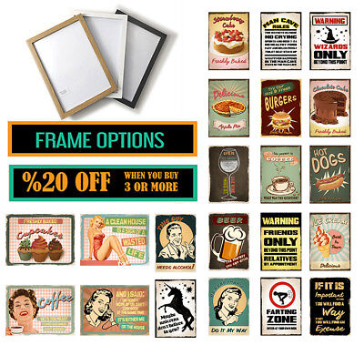 RETRO VINTAGE QUOTE POSTER Funny Prints Pub Home Wall Art * A3 A4 FRAMED OPTIONS