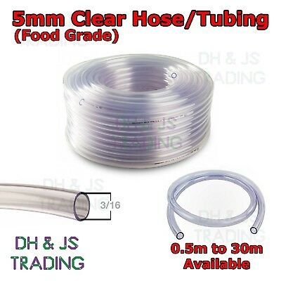 Clear 5mm Un-reinforced PVC Tubing - Plastic Hose Food Grade Tube
