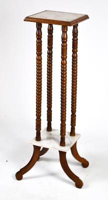 Vintage Mahogany Marble Top Plant Stand - FREE Shipping [PL4388]