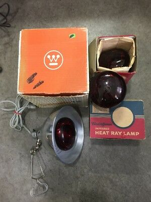 Vintage Westinghouse Portable Infrared Heat Sunlamp Kit With 3 Extra Bulbs Works