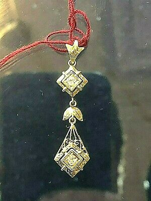 Spectacular Antique Art Deco Filigree Diamond 3 Stage Lavaleer Pendant 14K W/G
