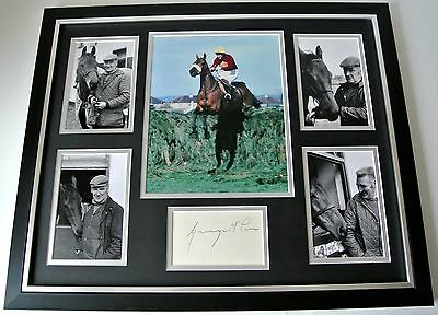 Ginger McCain SIGNED FRAMED Huge Photo Autograph display Red Rum Trainer & COA