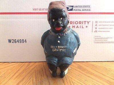 """vintage BLACK AMERICANA  """"Dilly Brand Laxative"""" Reproduction Coin Bank"""
