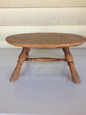 Vintage Solid Wood Small Foot Stool Milking Rustic Primitive Shabby Chic Farm