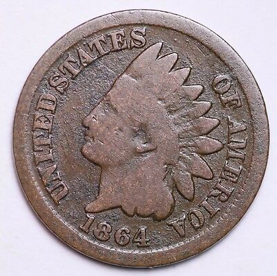 1864 Bronze Indian Head Cent Penny / Circulated Grade Good / Very Good Coin