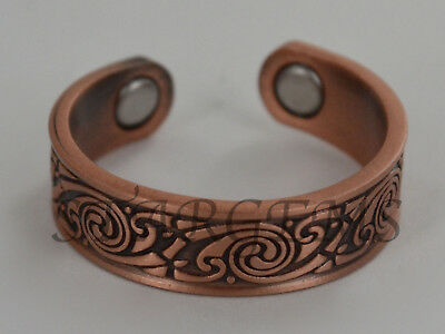 Magnetic Pure Copper Ring Healing Arthritis Health Aid Pain Relif Solid Cuff Bio