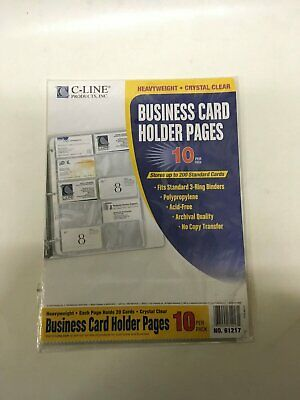 40 ct business card holder binder pages clear sleeves refill c line business card holder pages reheart Image collections