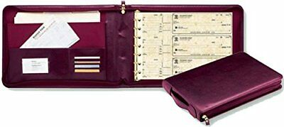 NEW - 3 On A Page REAL LEATHER Zippered Portfolio 7 Ring Check Binder-Burgundy