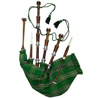 85c96f9fdb Full Size Bagpipe Rosewood Natural Silver Mounts Irish National Cover & Cord
