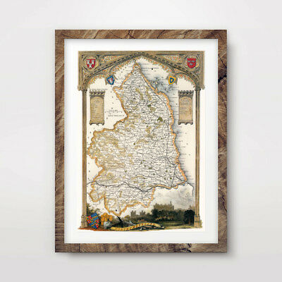 NORTHUMBERLAND VINTAGE OLD MAP ART PRINT Poster British County Antique A4 A3 A2