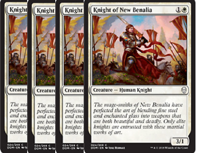 4 x Knight of New Benalia COMMON Dominaria ~~~~~~~~~~~~~~~~~~ UNPLAYED MINT