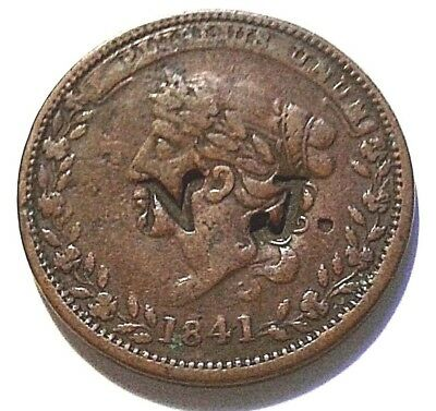 1841 Millions For Defense Not One Cent For Tribute Hard Times Token Stamped N.J.