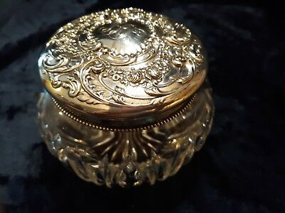 """Very Fine"" 4.5"" Gorham sterling repousse lid, ABP cut glass dresser jar powd"