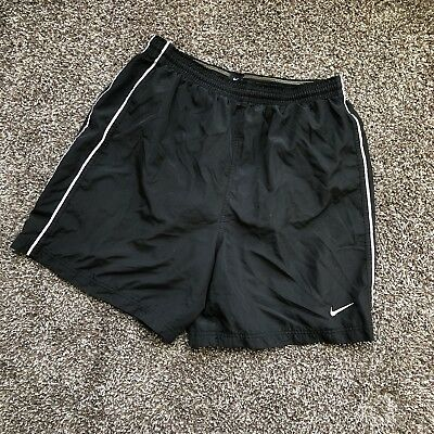 Nike Black Polyester Workout Shorts Line Embroidered Swoosh Mens Size Large