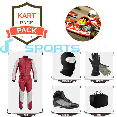 Go Kart Race suit(includes Suit, Gloves, Balaclava & Shoes)free bag- red n white