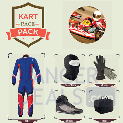 Go Kart Race suit (includes Suit,Gloves,Balaclava & Shoes)free bag- red n blue