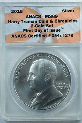 Harry Truman Coin & Chronicles 2 coin set ANACS 69 silver dollar and clad dollar