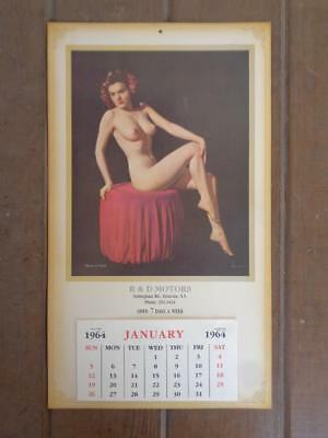 1964 Advertising Calendar R & D Motors Risque Nude Bloom Of Youth
