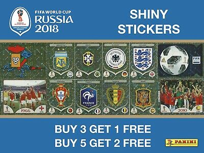 Panini World Cup 2018 Stickers Shiny / Foil Stickers - Badges / Trophy / Legends