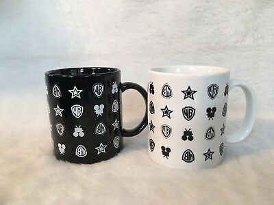 Warner Brothers Studio Logo Mug Cup Set of 2 Black and White WB Logo Camera Star