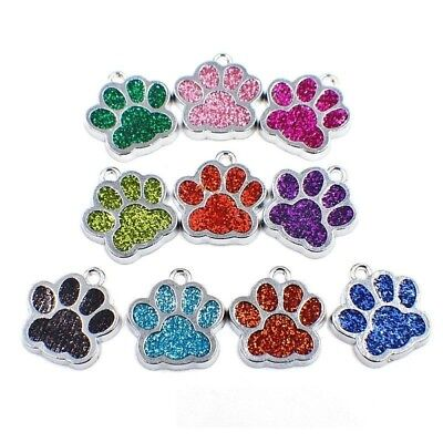 """Pack of 10 Sparkle Paw Metal Charm Pendants 3/4"""" (18mm) Cat Dog - Color Choice"""