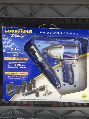"NEW GOODYEAR RACING 14 PIECE PRO AIR TOOL SET 1/2""IMPACT 500 ft-lbs MAX TORQUE."