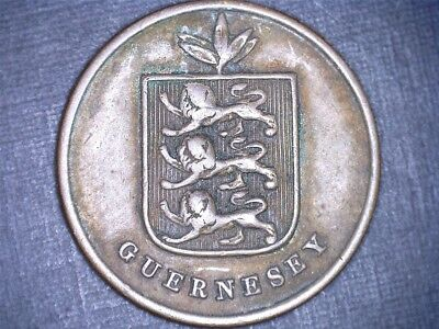 1868 1 double Guernsey bronze coin KM#10
