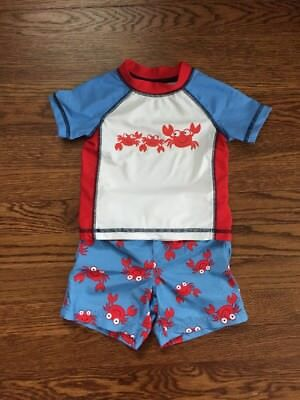 Little Me Baby Boys Swim Short And Rash Guard. Size 12 Month. Perfect Cond.