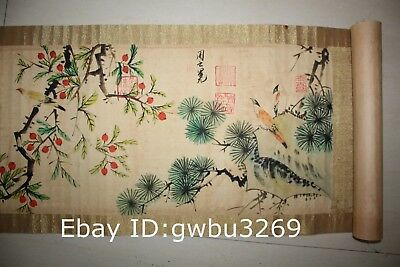 Marks Rare Old Chinese Very Long Scroll Painting Flower and Bird theme Map