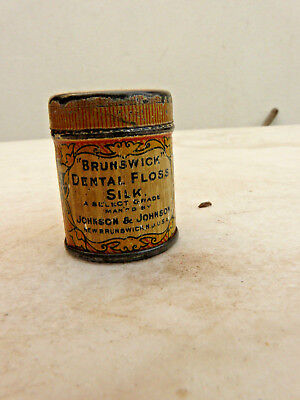 Antique Tin Box Floss Silk For  Cleansing The Teeth Dental - New Brunswick