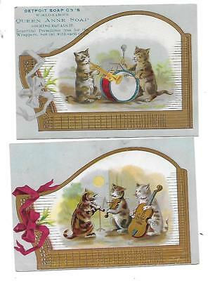 Detroit's Soap Co's Queen Anne Soap Victorian Trade Cards With Kittens & Cats
