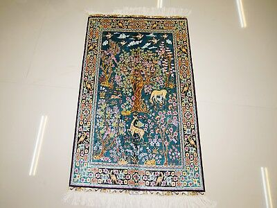 """2""""X3"""" Excellent Hand Knotted Floral Leisure Deer Navy Blue Silk Persian Area Rug"""