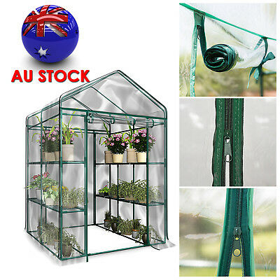 NEW Garden Greenhouse Walk-In Green Plant House Shed Storage PE Cover Apex Roof