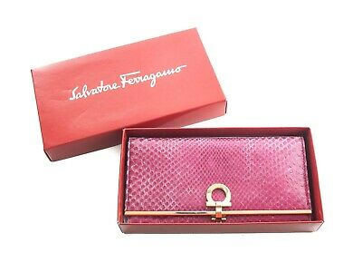 Authentic Salvatore Ferragamo dark pink python and calf leather wallet