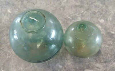 (2) Vintage Glass Ball Japanese Fishing Float-Very Collectable 3-1/2 & 2-1/2 Dia