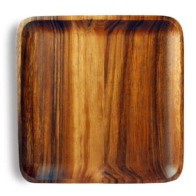 """10"""" Home Kitchen Dining Acacia Wood Square Serving Tray Dishes Platter Plate"""