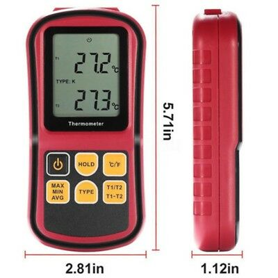 GM1312 Digital Thermometer 2channel Temperature Meter Tester for Thermocouple US