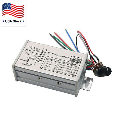 12V 24V 20A PWM Controller DC Motor Stepless Variable Speed Control Switch US