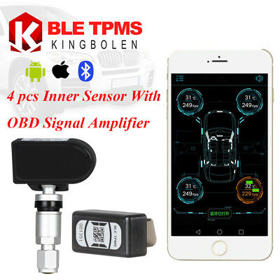 Bluetooth TPMS Car Tire Pressure Monitor System Fit IOS Andriod 4 Inner Sensors