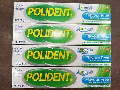 Polident Denture Adhesive Cream Flavour-Free 60g x 4 tubes
